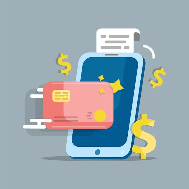 Paiement En Ligne. Paiement Par Smartphone Vecteur Premium