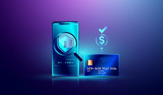 Paiement en ligne via protection de carte de crédit sur smartphone Vecteur Premium