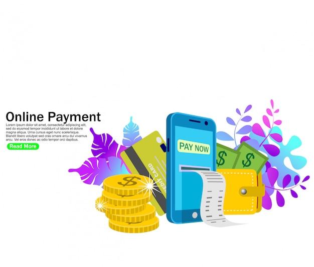 Paiement en ligne Vecteur Premium
