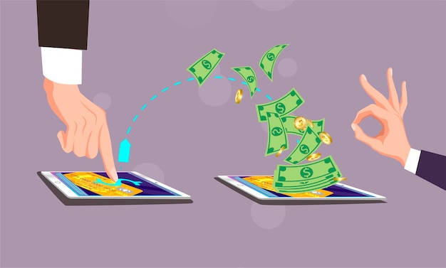Paiement mobile, l'homme clique avec le doigt sur la tablette écran. hombre a clic con el dedo Vecteur Premium