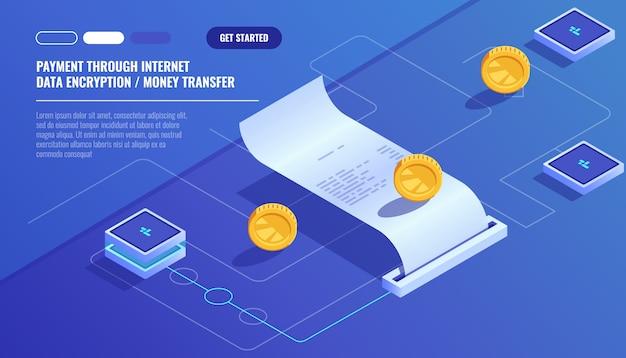 Paiement par internet, transfert de données par cryptage de données, paiement par facture électronique Vecteur gratuit