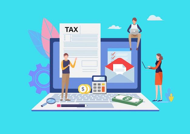 Paiement de taxe en ligne. Vecteur Premium