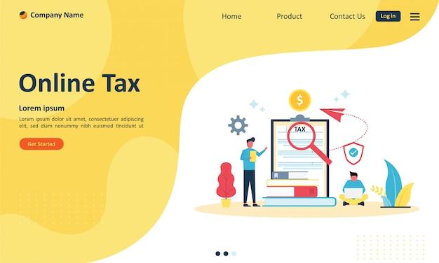 Paiement des taxes en ligne pour la page de destination web Vecteur Premium