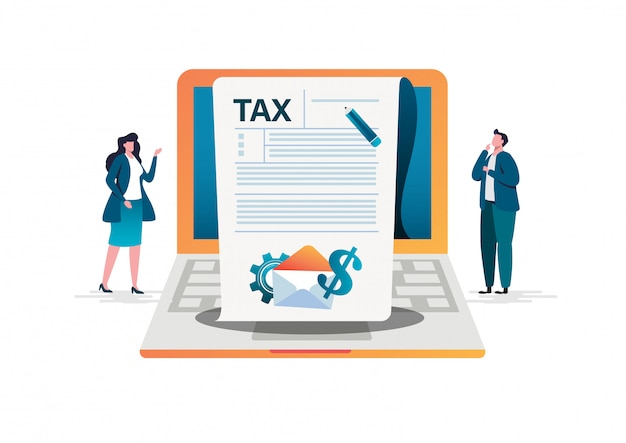 Paiement des taxes en ligne Vecteur Premium