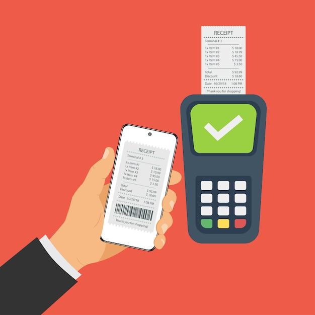 Paiements Mobiles Via Smartphone, Paiement Sans Contact. Vecteur Premium