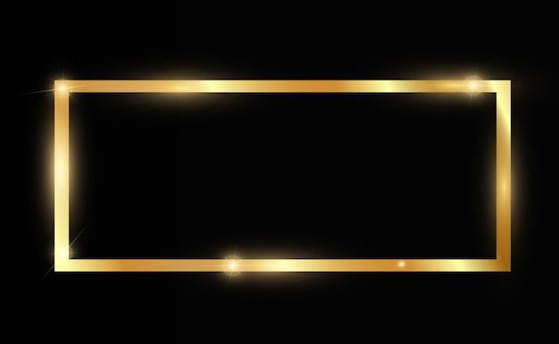 Paillettes D'or Avec Cadre En Or Brillant Sur Fond Noir Transparent Vecteur Premium