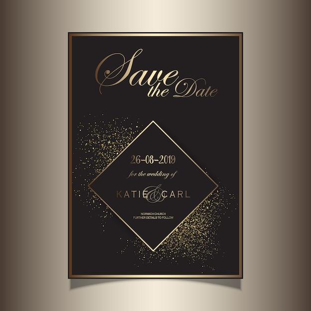 Paillettes d'or enregistrer la conception invitation de date Vecteur gratuit