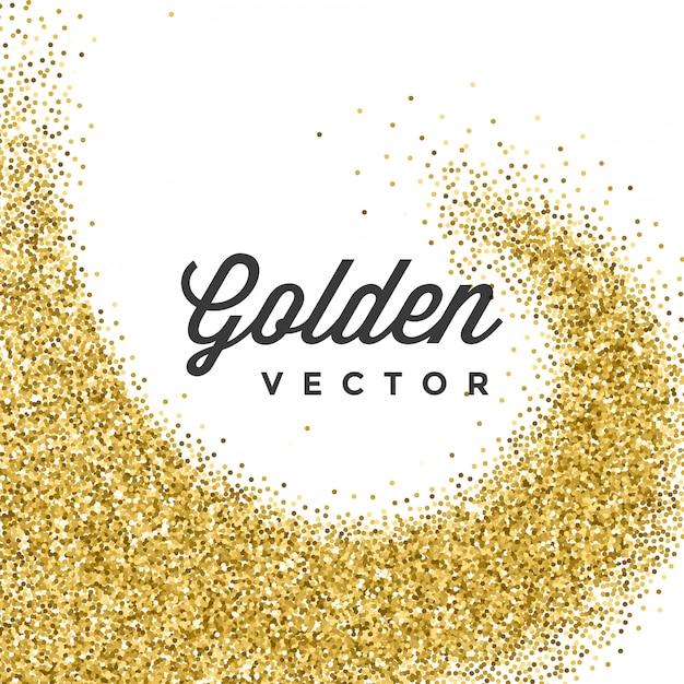 Paillettes d'or scintille confettis lumineux sur fond blanc Vecteur Premium