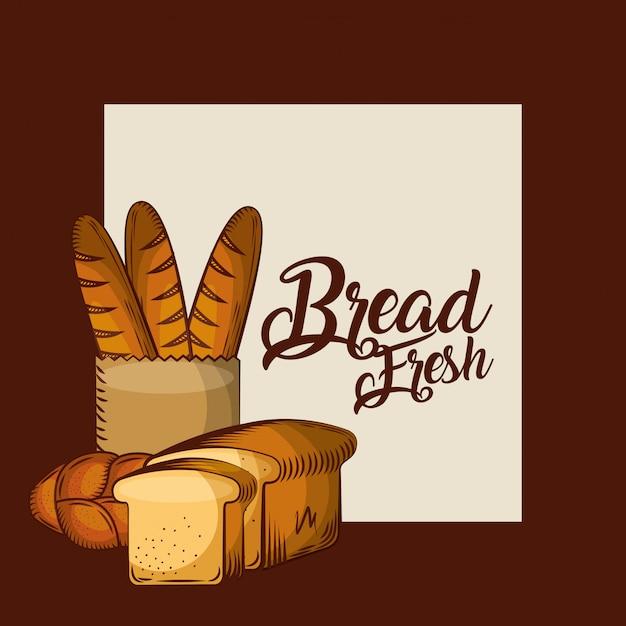 Pain baguette fraîche en sac de papier entier et toasts affiche de boulangerie Vecteur Premium