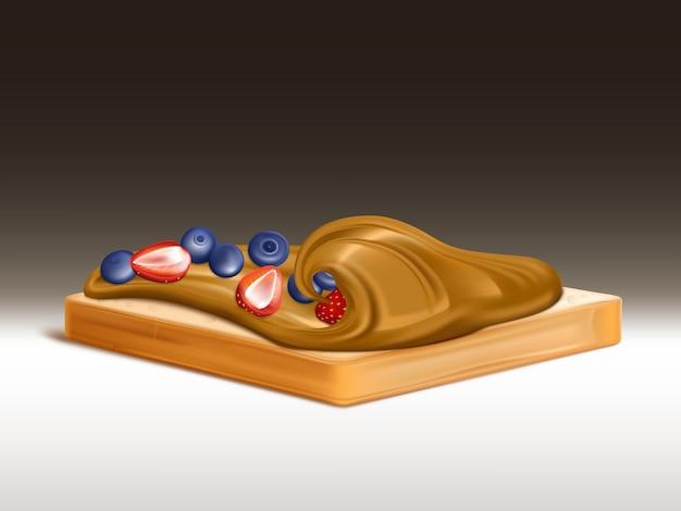 Pain de blé avec beurre d'arachide, crème au chocolat ou tartinade réaliste aux fraises et myrtilles Vecteur gratuit