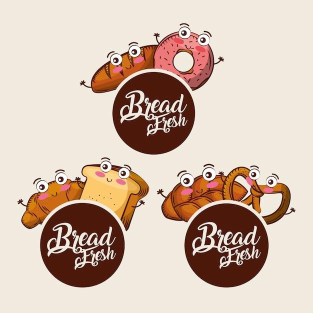 Pain frais kawaii mis alimentaire croissants beignet bretzel dessin animé Vecteur Premium
