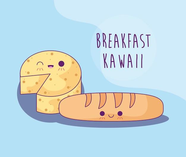Pain français au fromage pour le petit déjeuner à la kawaii Vecteur Premium