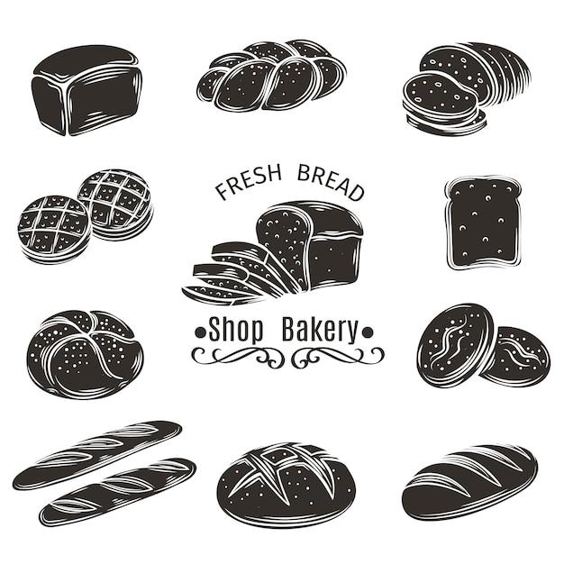 Pain D'icônes Et Boulangerie. Vecteur Premium