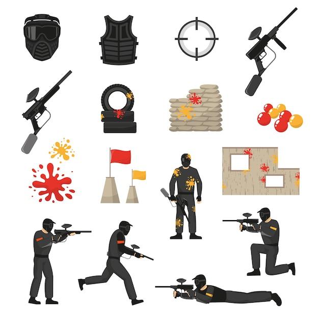 Paintball icons set Vecteur gratuit