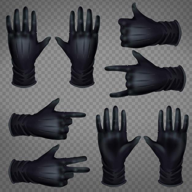 Paire de gants en cuir noir Vecteur gratuit