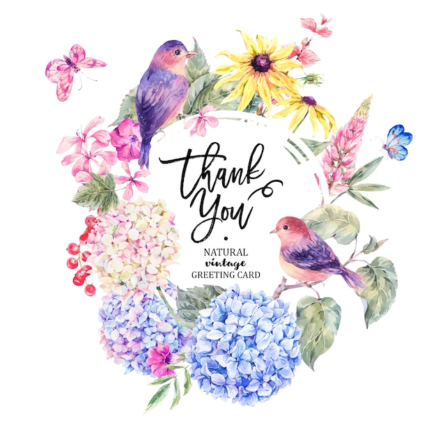 Paire d'oiseaux avec carte de fleurs sauvages en fleurs Vecteur Premium
