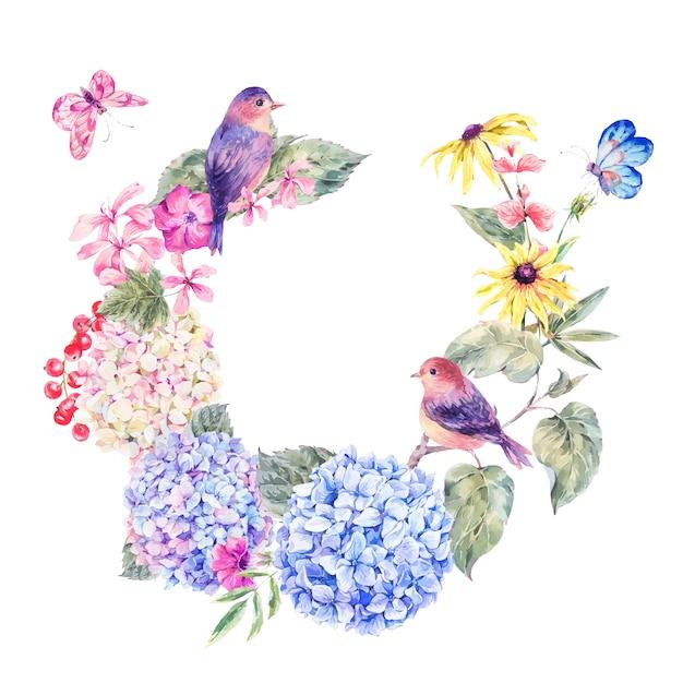 Paire d'oiseaux avec des fleurs sauvages en fleurs Vecteur Premium