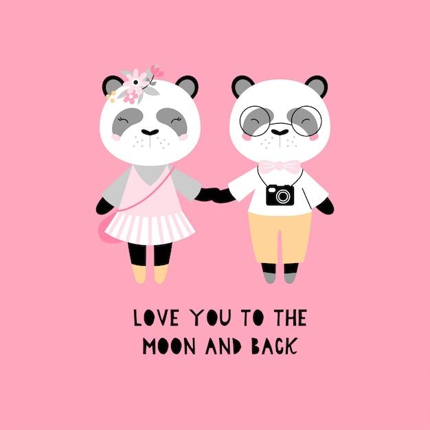 Une paire de pandas mignons. Vecteur Premium
