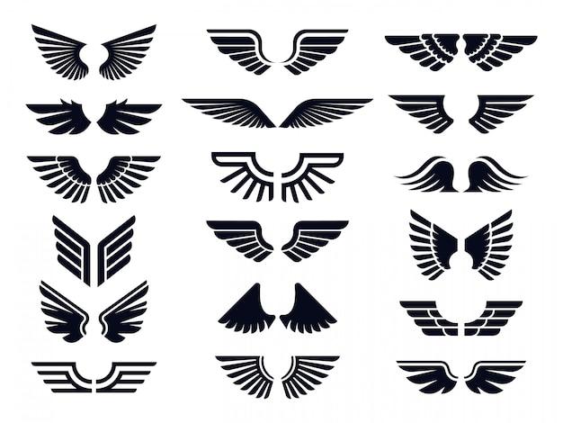 Paire De Silhouette D'icône D'ailes. Aile D'ange, Emblème De Mouche Décorative Et Symboles De Pochoir Aigle Bundle D'icônes Vectorielles Vecteur Premium