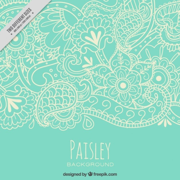 paisley motif de nature Sketches Vecteur Premium
