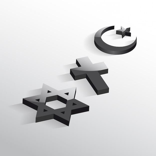 Paix et dialogue entre les religions. symboles chrétiens, juifs et islamiques Vecteur Premium