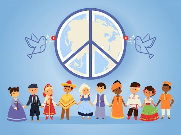 Paix nations unies gens de différentes races nationalités pays et cultures se tenant la main Vecteur Premium
