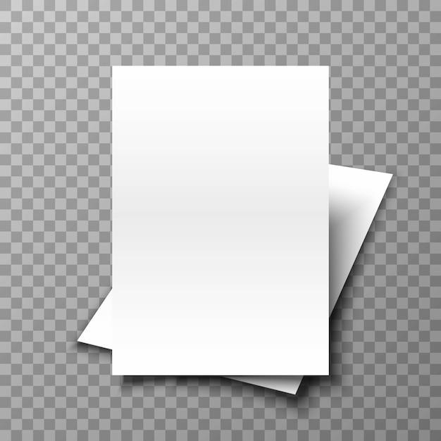 Pâle De Papier Blanc Sur Fond Transparent. Vecteur Premium