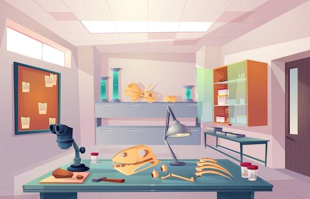 Paléontologie, laboratoire de génétique universitaire, examen d'os fossilisés, étude d'illustration vectorielle de dinosaures squelette anatomie dessin animé Vecteur gratuit
