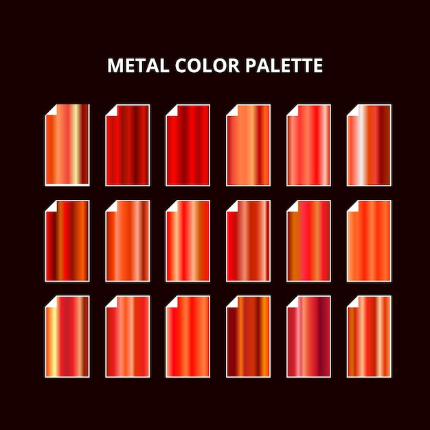 Palette De Couleurs En Métal. Texture En Acier Rouge Orange Vecteur Premium