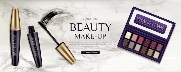 Palette d'ombres à paupières cosmétique, tubes de mascara avec coup de pinceau sur marbre Vecteur gratuit