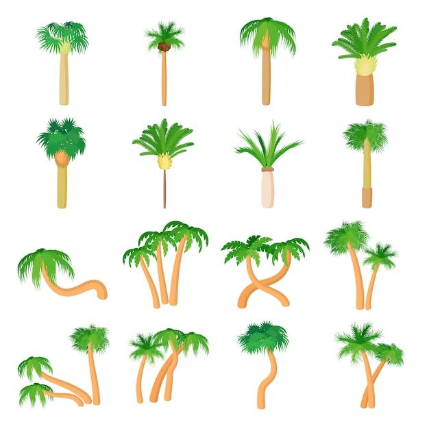Palm icônes définies dans le vecteur de style dessin animé Vecteur Premium