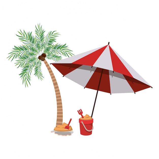 Palmier avec parasol rayé Vecteur gratuit