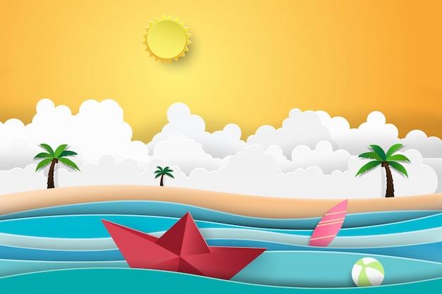 Palmier de plage d'été avec bateau au coucher du soleil naviguant dans la mer. Vecteur Premium