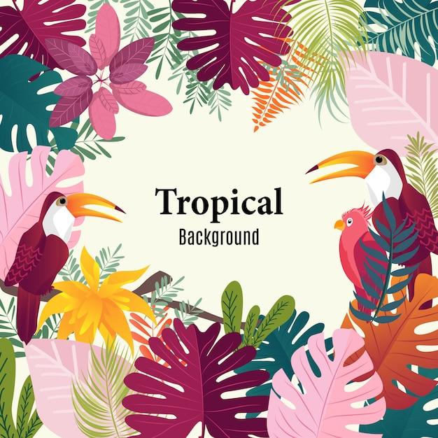 Palmier tropical fond été laisse oiseaux image vectorielle. Vecteur Premium