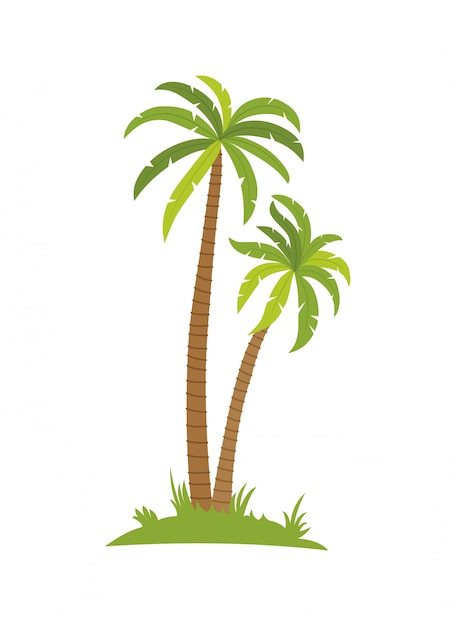 Palmier tropical sur l'île avec des vagues de la mer Vecteur Premium