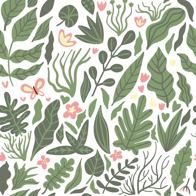 Palmier Tropical Laisse Jungle Fond Floral Vectorielle Continue Avec Des Fleurs Et Des Papillons Sur Blanc Vecteur Premium