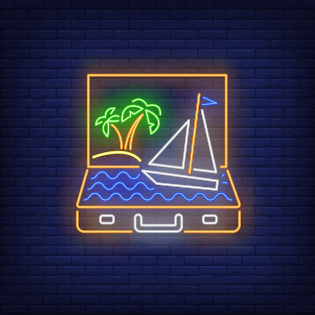 Palmiers et bateau naviguant dans le néon de valise ouverte Vecteur gratuit