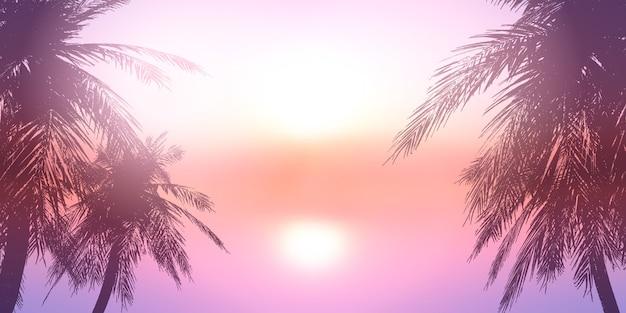 Palmiers contre un coucher de soleil sur l'océan Vecteur gratuit