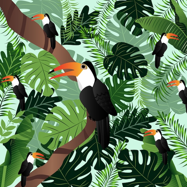 Palmiers d'illustration tropicale de l'été feuilles oiseaux vector image. Vecteur Premium