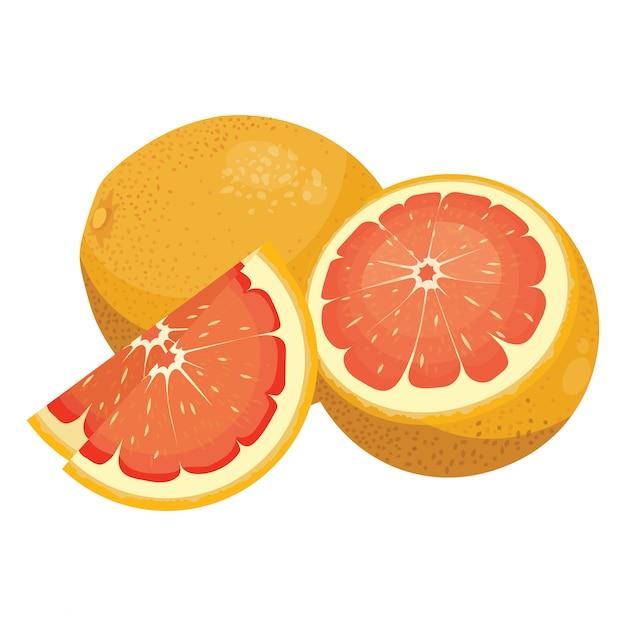 Pamplemousse De Dessin Animé. Fruits Vitaminés Frais. Agrumes Juteux Coupés En Tranches. Vecteur Premium