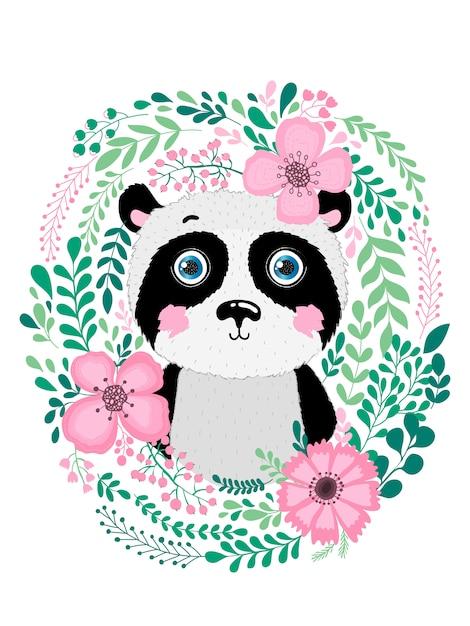 Panda animal dessiné main mignon Vecteur Premium