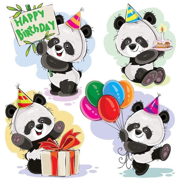 Panda bear baby célèbre le vecteur de dessin animé d'anniversaire Vecteur gratuit
