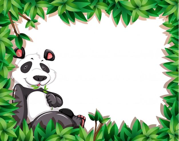 Un panda sur cadre nature Vecteur gratuit