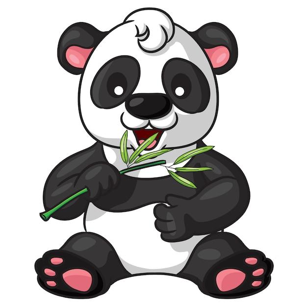 Panda cute cartoon Vecteur Premium