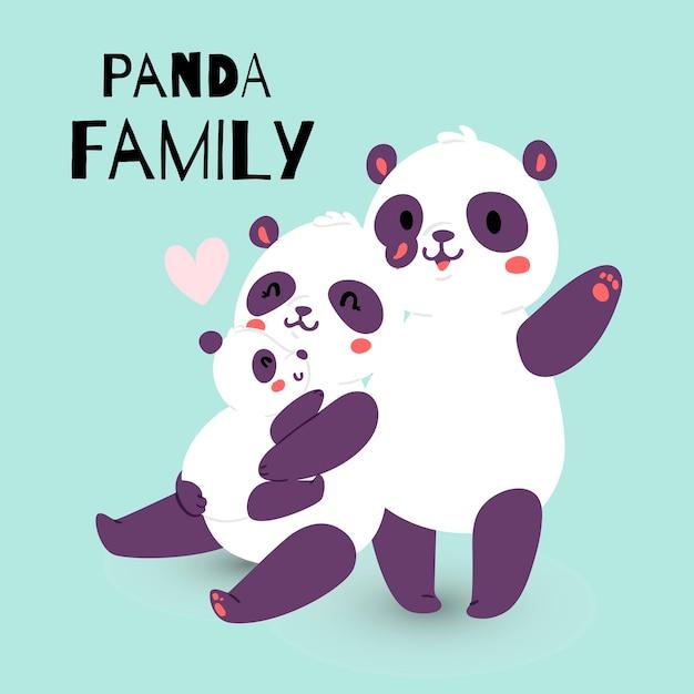 Panda Famille Avec Adulte Mère Et Père Avec Enfant Ours Vecteur Premium