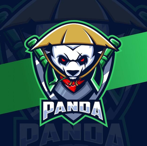Panda Guerrier Mascotte Esport Logo Vecteur Premium