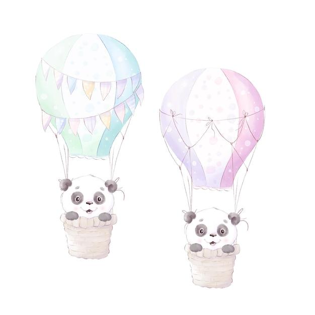 Panda, Illustration Aquarelle Isolée Vecteur Premium