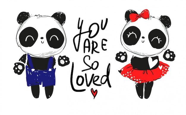 Panda en illustration de couple amoureux. texte: tu es tellement aimé Vecteur Premium