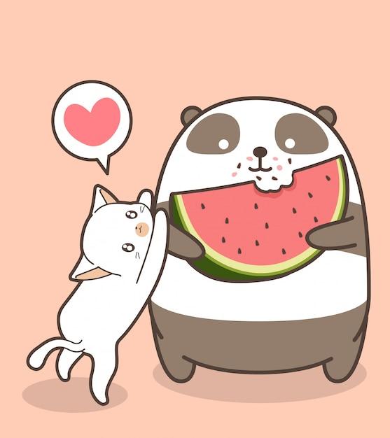 Le panda kawaii mange une pastèque Vecteur Premium
