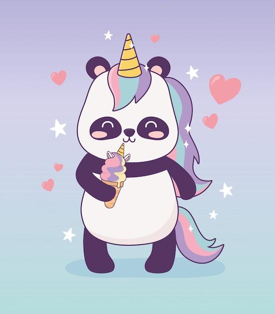 Panda Avec Licorne Glace Personnage De Dessin Anime Fantaisie Magique Vecteur Premium